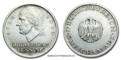 World Coins - Germany Weimar Republic 5 REICHSMARK 1929 A Berlin Gotthold Ephraim Lessing SILVER 58/70 World coin for sale
