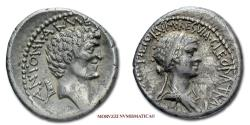 Ancient Coins - Mark Antony and Cleopatra VII Philopator SILVER DENARIUS 32-31 BC 40/70 VERY RARE (RRR) Roman Imperatorial coin for sale