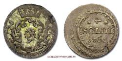 World Coins - Corsican Republic PASQUALE PAOLI 4 SOLDI 1765 Corte BILLON 45/70 VERY RARE (RRR) Italian coin for sale