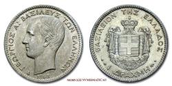 World Coins - George I of Greece King of the Hellenes Drachma 1868 Paris SILVER 60/70 World coin for sale