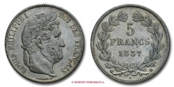 World Coins - FRANCE LOUIS PHILIPPE I 5 FRANCS 1837 BB STRASBOURG french coin