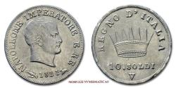 World Coins - Napoleon I King of Italy 10 SOLDI 1811 Venice SILVER 45/70 VERY RARE (RRR) Italian coin for sale