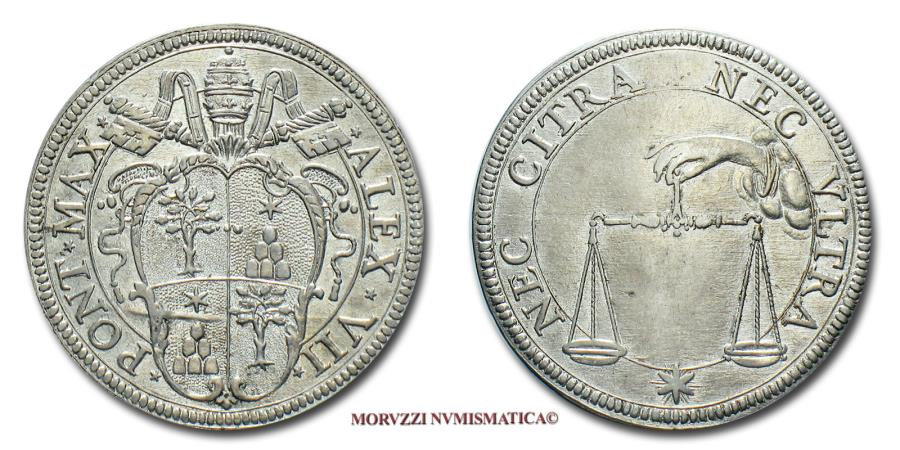World Coins - Papal States Alexander VII TESTONE SILVER papal coin