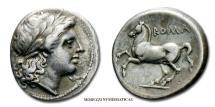 Ancient Coins - Roman Republic Anonymous Silver Didrachm 234-231 BC Apollo / Horse Roman coin for sale
