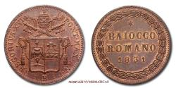 World Coins - Gregory XVI BAIOCCO ROMANO 1831 RED COPPER 64/70 Papal coin for sale
