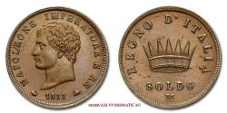 World Coins - Napoleon I King of Italy SOLDO 1811 Milan 58/70 Italian coin for sale