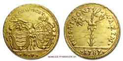 World Coins - Papal States PIUS VI MEZZA DOPPIA (1/2 DOPPIA) 1787 Bologna GOLD VERY RARE (RR) papal coin