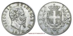 World Coins - Kingdom of Italy Victor Emmanuel II 5 LIRE 1872 Rome SILVER 45/70 VERY RARE (RR) Italian coin for sale
