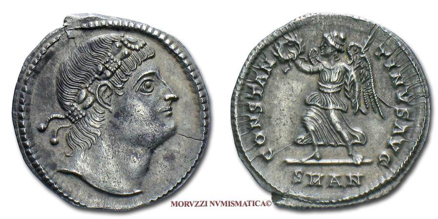 Ancient Coins - CONSTANTINE I THE GREAT SILVER SILIQUA 336-337 AD CONSTANTINVS AVG / SMAN Victory Antioch 55/70 VERY RARE (RR) Roman Imperial coin for sale