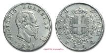 World Coins - KINGDOM OF ITALY VICTOR EMMANUEL II UNA LIRA 1861 STEMMA SABAUDO TURIN VERY RARE (RR) italian coin