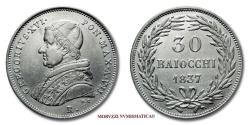World Coins - Gregory XVI 30 BAIOCCHI 1837 A. VII SILVER 53/70 VERY RARE (RRR) Papal coin for sale