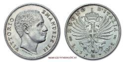 World Coins - Kingdom of Italy Victor Emmanuel III LIRA 1905 Aquila Sabauda 62/70 VERY RARE (RR) Italian coin for sale
