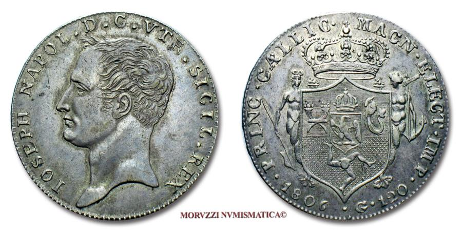 World Coins - Kingdom of Naples Joseph-Napoléon Bonaparte 120 GRANA 1806 SILVER VERY RARE (RR) Italian coin for sale