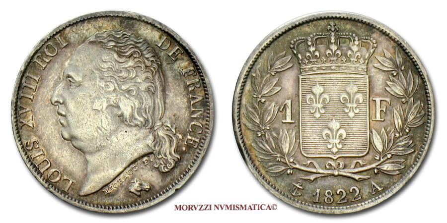 Louis Xviii Of France Franc 1822 A Paris Silver 45 70 French Coin For