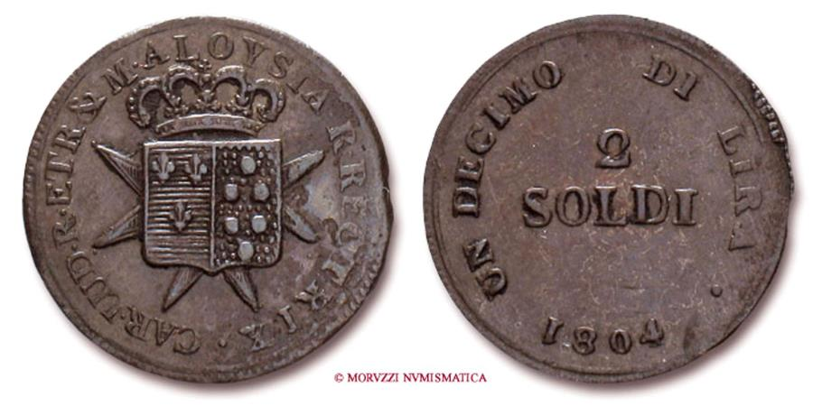 Kingdom of etruria charles louis 2 soldi 1804 florence for Coin firenze