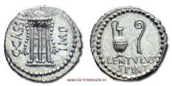 Ancient Coins - Gaius Cassius Longinus SILVER DENARIUS 43-42 BC P. Cornelius Lentulus Spinther RARE (R) Roman coin for sale