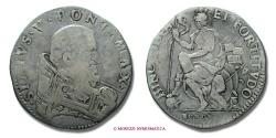 World Coins - PAPAL STATES SIXTUS V TESTONE BOLOGNA VERY RARE (RR) papal coin