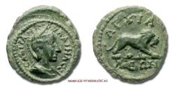 Ancient Coins - Tranquillina BRONZE 238-244 AD lion Anchialus 45/70 VERY RARE (RRR) Roman coin for sale