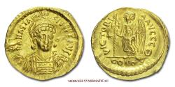 Anastasius I Solidus 491-518 AD VICTORIA AVGGG-#Q# / CONOB Constantinople GOLD Byzantine coin for sale