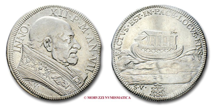 World Coins - PAPAL STATES INNOCENT XII 1/2 PIASTRA A. VII RARE (R) papal coin