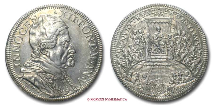 World Coins - PAPAL STATES INNOCENT XII PIASTRA 1696 A. V RARE (R) papal coin