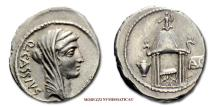 Ancient Coins - GENS CASSIA Q. Cassius Longinus SILVER DENARIUS 55 BC temple of Vesta Roman coin for sale