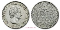 World Coins - Kingdom of Sardinia Charles Felix 5 LIRE 1828 Turin SILVER italian coin