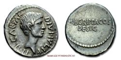 Ancient Coins - Octavian and Marcus Vipsanius Agrippa SILVER DENARIUS 38 BC M AGRIPPA COS DESIG 45/70 RARE (R) Roman Imperatorial coin for sale