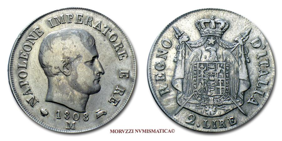 World Coins - Napoleon I King of Italy 2 LIRE 1808 Milan SILVER 40/70 VERY RARE (RRR) Italian coin for sale