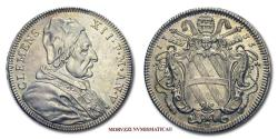 World Coins - Clement XII TESTONE 1735 SILVER 62/70 SCARCE Papal coin for sale