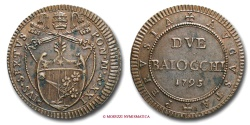 World Coins - PAPAL STATES PIUS VI 2 BAIOCCHI 1795 PERUGIA VERY RARE (RR) papal coin