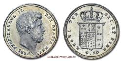World Coins - Kingdom of the Two Sicilies Ferdinand II of Bourbon 20 GRANA 1851 Naples 58/70 SCARCE (NC) Italian coin for sale