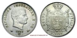 World Coins - NAPOLEON I KING OF ITALY 5 LIRE 1812 MILAN SILVER 55/70 RARE (R) Italian coin for sale