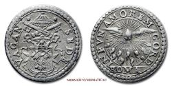 World Coins - VACANT PAPAL SEE 1655 MEZZO GROSSO Antonio Barberini 50/70 SILVER VERY RARE (RR) Papal coin for sale