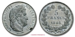 World Coins - FRANCE LOUIS PHILIPPE I 5 FRANCS 1843 B ROUEN french coin