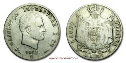 World Coins - Napoleon I King of Italy 5 LIRE 1811 B Bologna SILVER 20/70 VERY RARE (RR) Italian coin for sale