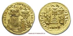 Ancient Coins - Constans II and Constantine IV Solidus 659-668 AD VICTORIA AVGU#G# CONOB Syracuse GOLD Byzantine coin