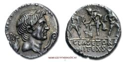 Ancient Coins - Pompey the Great SILVER DENARIUS 42-40 BC CLAS ET ORAE MARIT EX S C Neptune Anapias and Amphinomus 55/70 VERY RARE (RR) Roman Imperatorial coin for sale