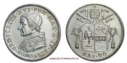 World Coins - Gregory XVI 20 BAIOCCHI 1834 SILVER 50/70 Papal coin for sale