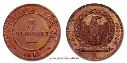 World Coins - Roman Republic (1849) 3 BAIOCCHI 1849 COPPER Papal coin for sale