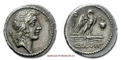 Ancient Coins - GENS CASSIA Q. Cassius Longinus SILVER DENARIUS 55 BC Roman coin for sale