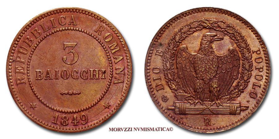 World Coins - Roman Republic (1849) 3 BAIOCCHI 1849 COPPER Papal coin for sale