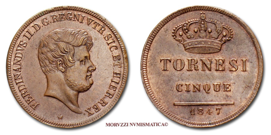 World Coins - Kingdom of the Two Sicilies Ferdinand II of Bourbon 5 TORNESI 5 1847 Naples near UNCIRCULATED EXCEPTIONAL QUALITY FOR THE ISSUE italian coin