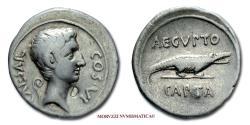 Ancient Coins - Octavian SILVER DENARIUS 28 BC AEGYPTO CAPTA Crocodile 40/70 VERY RARE (RR) Roman Imperatorial coin for sale