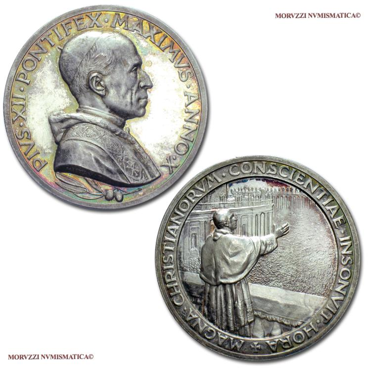 World Coins - Pope Pius XII Silver Medal 1948 ANNO X Easter speech of 1948 Opus Mistruzzi 64/70 SCARCE (NC) Papal medal for sale