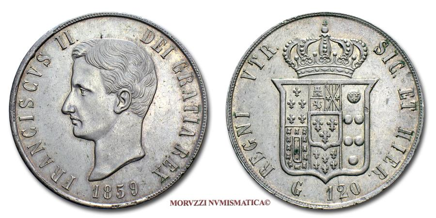 World Coins - Kingdom of the Two Sicilies Francis II 120 GRANA 1859 Naples SILVER 58/70 SCARCE (NC) Italian coin for sale
