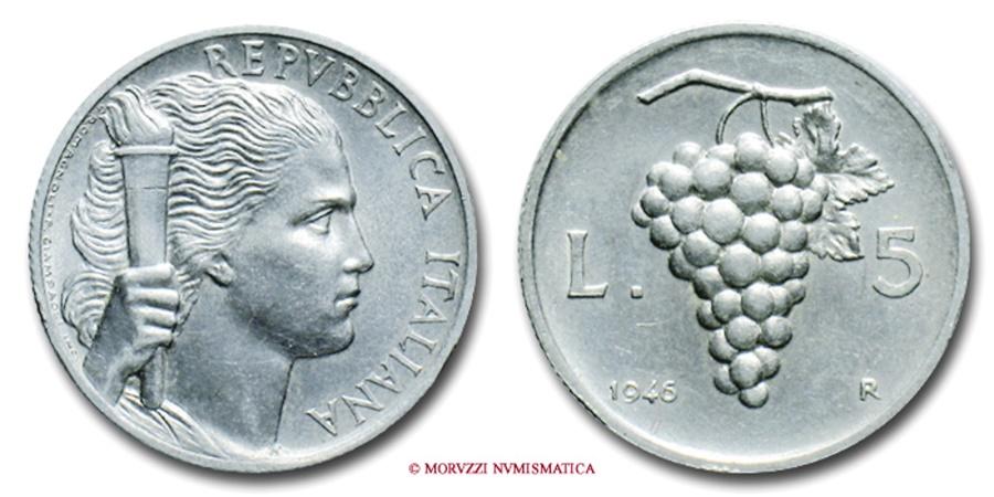 World Coins - ITALIAN REPUBLIC 5 LIRE Grapes with small date 1946 VERY RARE (RRR) italian coin