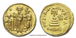 Ancient Coins - Heraclius, Heraclius Constantine and Heraclonas Solidus 632-635 AD VICTORIA AVGY A / CONOB Constantinople GOLD 45/70 Byzantine coin for sale