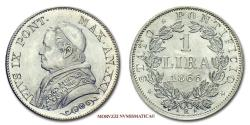 World Coins - Pius IX LIRA 1866 XXI Medium bust SILVER 64/70 RARE (R) Papal coin for sale