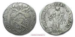 World Coins - Papal States Sixtus V TESTONE SILVER RARE (R) papal coin